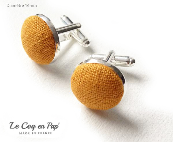 Boutons de manchette jaune moutarde Le Coq en Pap'