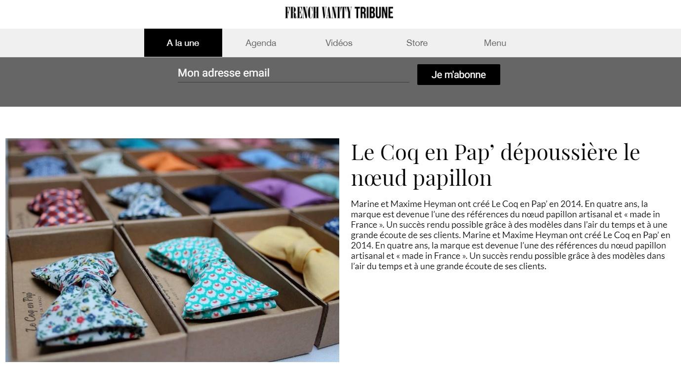 French Vanity Tribune parle de Le Coq en Pap'