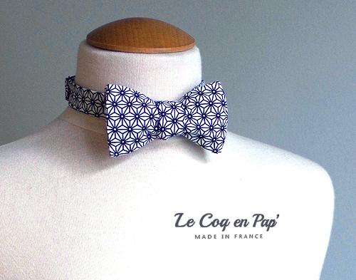 Noeud Papillon noir et blanc graphique étoile japonais Le Coq en Pap France