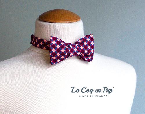 Noeud Papillon rouge bordeau graphique Le Coq en Pap france