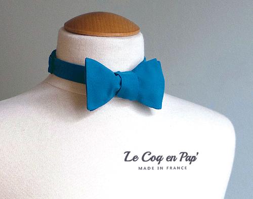 Noeud papillon Bleu canard vert canard uni Le Coq en Pap france