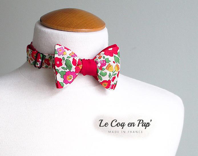 Noeud papillon Liberty Framboise fleuri Le Coq en Pap'