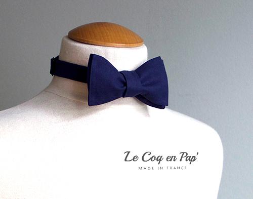 Noeud papillon authentique noué bleu marine nuit costume cérémonie Le Coq en Pap