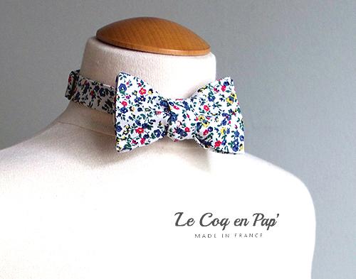 Noeud papillon blanc fleur rouge bleu printemps campagnard Le Coq en pap france