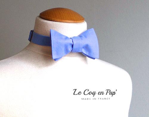 Noeud papillon bleu ciel clair Le Coq en pap pré noué france