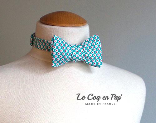 Noeud papillon bleu turquoise framboise graphique vintage Le Coq en Pap