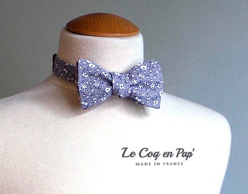 Noeud papillon fleur bleu gris le Coq en Pap France