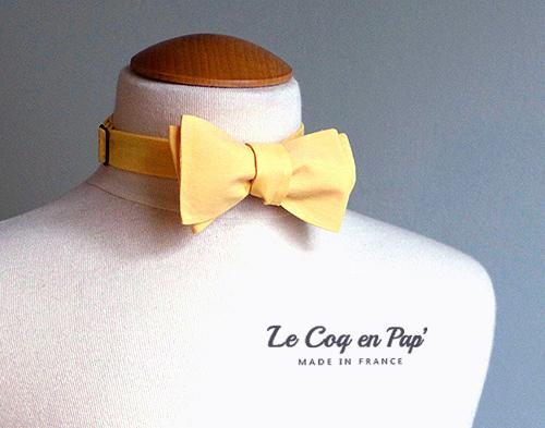 Noeud papillon jaune uni poussin citron le Coq en Pap France