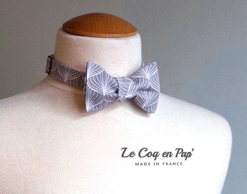 Noeud papillon noué gris graphique feuille LeCoqenPap France