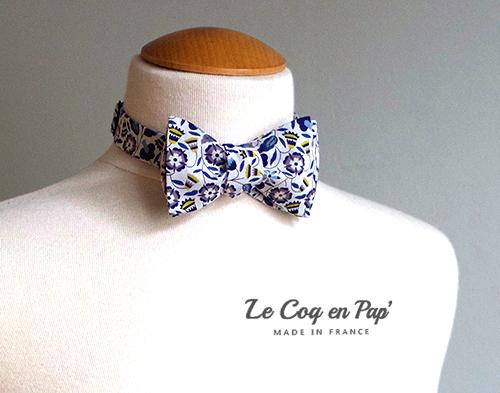 Noeud papillon noué liberty blanc bleu jaune LeCoqenPap France