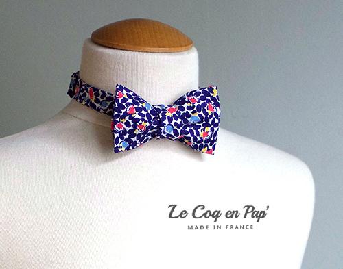 Noeud papillon noué moderne bleu jaune rouge blanc LeCoqenPap France