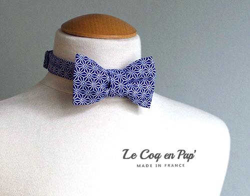Noeud papillon noué ouvert bleu japonais graphique étoiles Le Coq en Pap France