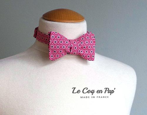 Noeud papillon noué ouvert rouge japonais graphique étoiles CoqenPap France