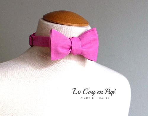 Noeud papillon rose bonbon pink mariage sur mesure Le Coq en Pap