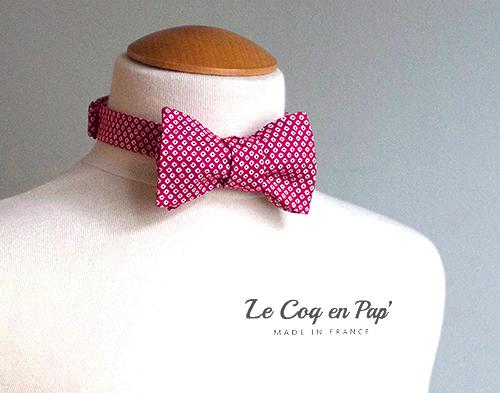 Noeud papillon rouge blanc pois noué sur mesure mariage Le Coq en Pap France