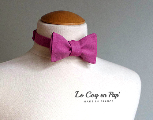 Noeud papillon sur-mesure mauve prune Le Coq en Pap mariage France