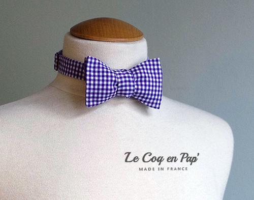 Noeud papillon vichy carreaux violet mauve Le Coq en pap France