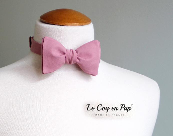 Noeud papillon vieux rose Le Coq en pap'