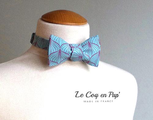 Noeud papilon et pochette bleu turquoise évenement feuille Le Coq en Pap