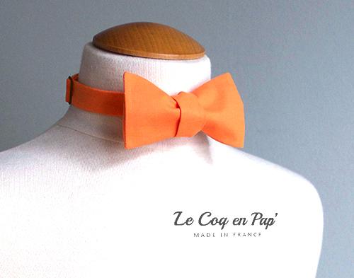 Vrai noeud papillon noué orange uni Le Coq en pap