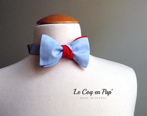 Noeud papillon bleu ciel rouge Le Coq en Pap