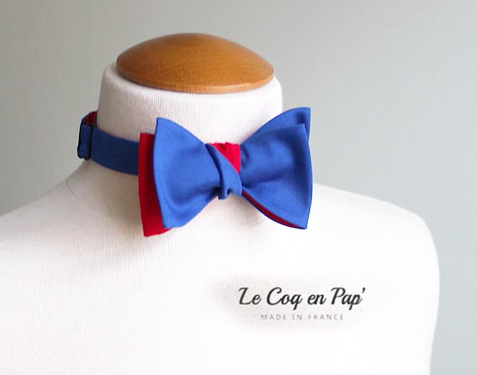 Noeud papillon bleu roi rouge Le Coq en Pap'