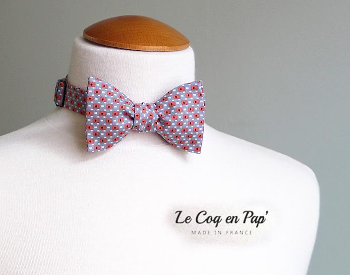 Noeud papillon Gris et Corail LE Coq en Pap'