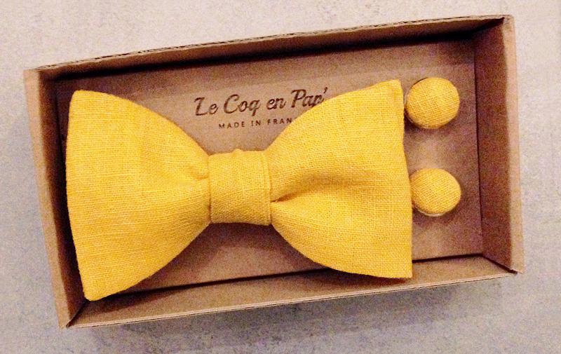 Kit duo bouton manchette noeud papillon lin jaune